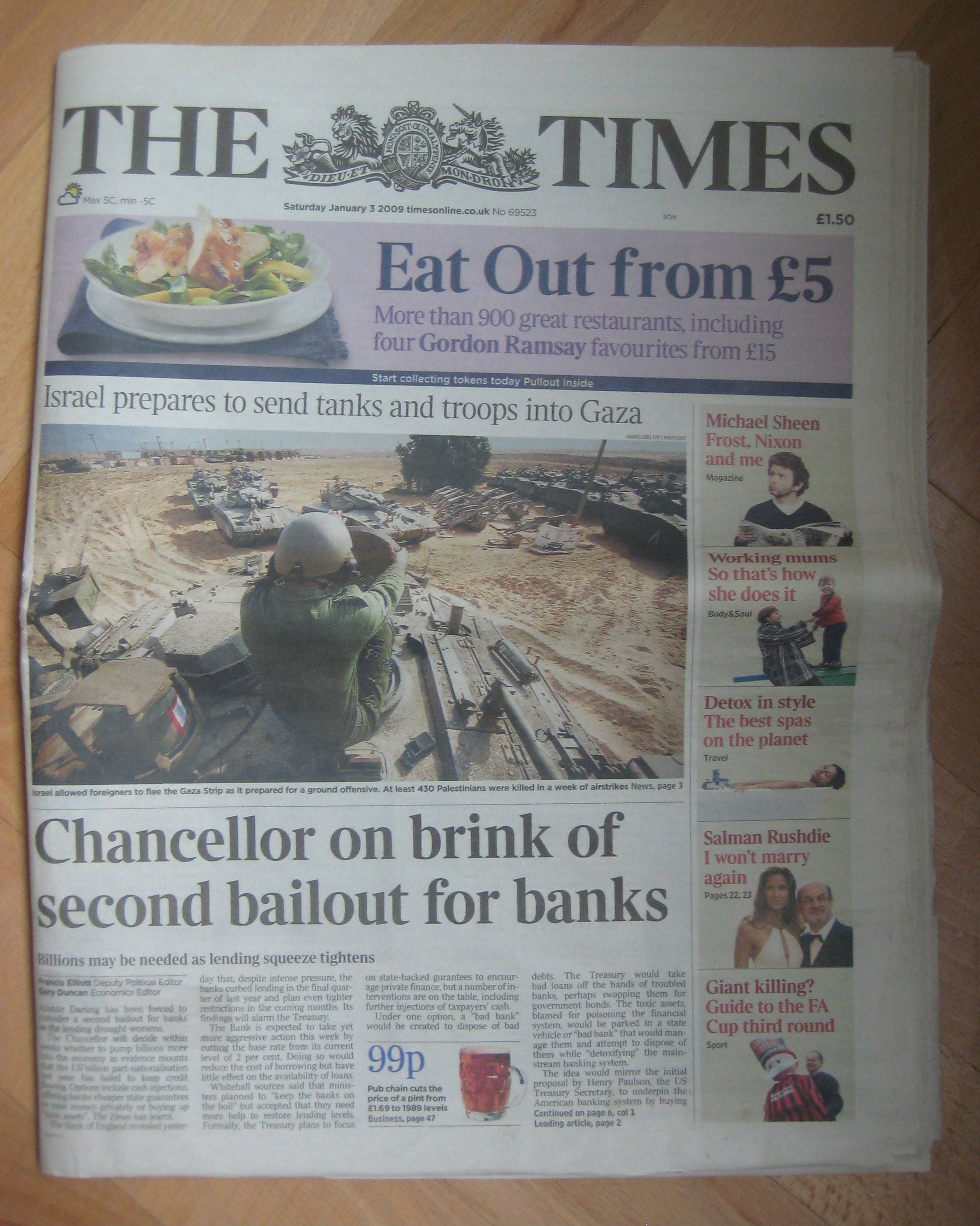 Times of London headline referenced by the Bitcoin genesis block