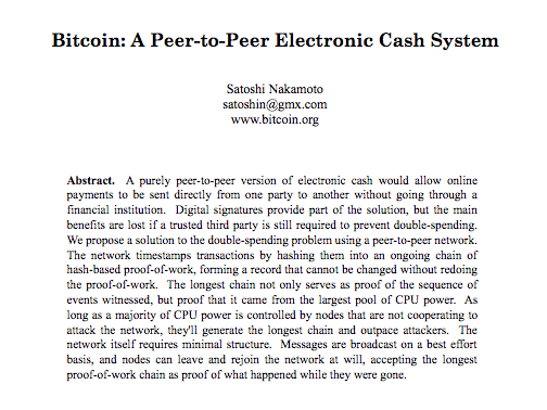 Bitcoin whitepaper abstract