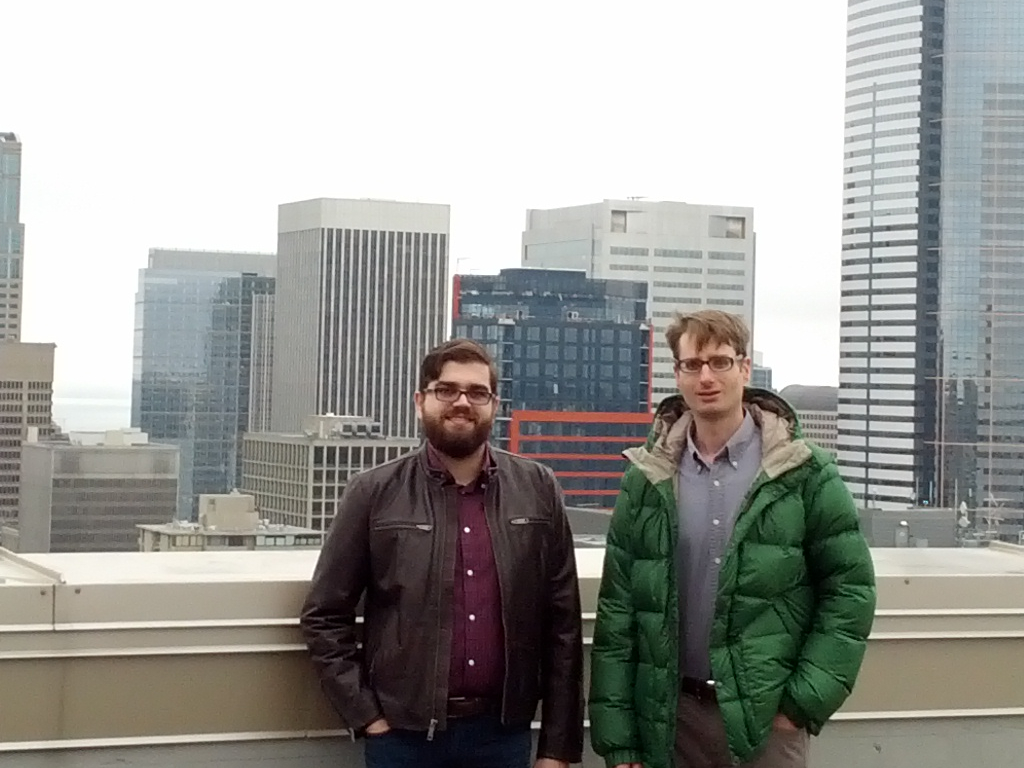 George Bonaci and Matthew Markus on a roof in Seattle, where Pembient got started.