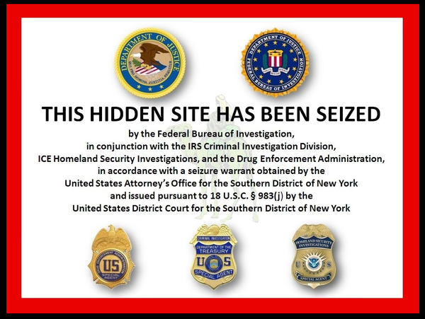 Notice placed on the Silk Road domain after Ross